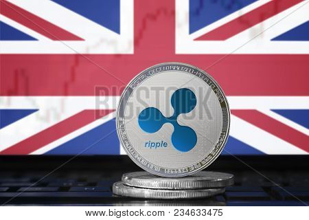 Ripple (xrp) Cryptocurrency; Physical Concept Ripple Coin On The Background Of The Flag Of United Ki