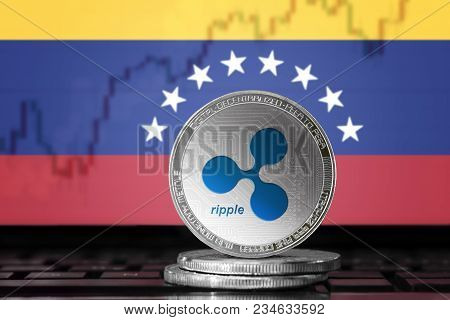 Ripple (xrp) Cryptocurrency; Physical Concept Ripple Coin On The Background Of The Flag Of Venezuela