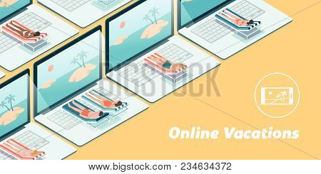 People Having Vacations Online On Their Laptops, They Are Lying On A Deckchair And Sunbathing In Fro