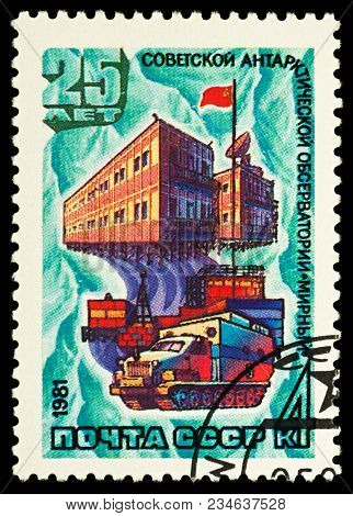 Moscow, Russia - April 03, 2018: A Stamp Printed In Ussr (russia) Shows Soviet Antarctic Station