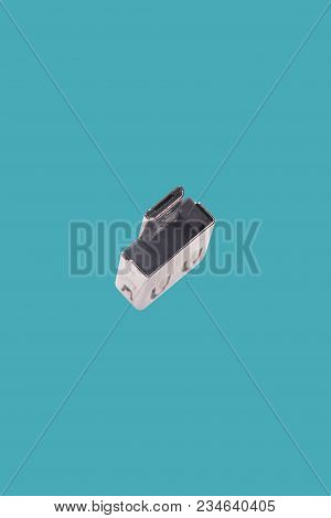 Usb Drive Adapter Isolated Over The Blue Background.