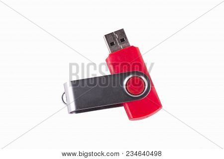 Universal Serial Bus Usb Drive Isolated Over The White Background.