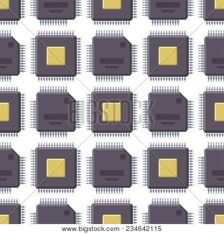 Cpu Microprocessors Microchip Seamless Pattern Background Vector Illustration. Hardware Component Eq