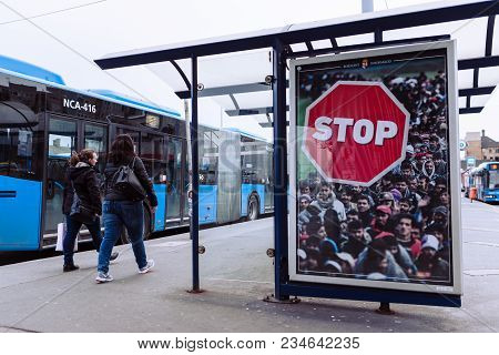 Budapest, Hungary - April 4, 2018: Hungarian Government Billboard Anti-immigration Campaign, Say Sto