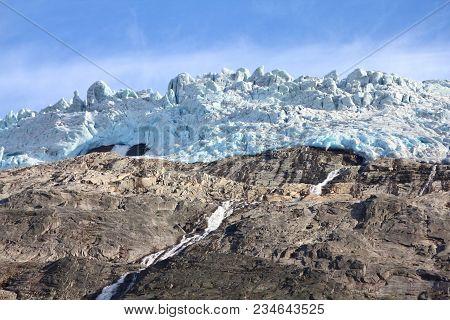 Norway Nature - Glacier Landscape. Jostedalsbreen National Park - Briksdalsbreen Glacier.