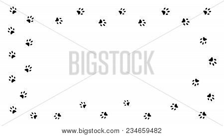 Frame Black Paw Prints Walking The Animal. Traces Isolated On White Background.