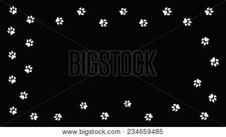 Frame White Paw Prints Walking The Animal. Traces Isolated On A Black Background.