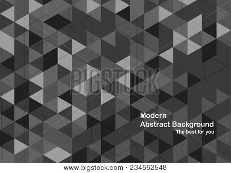 Modern Abstract Background In Polygon Shape. Template Design In Grey And White Tone For Business Pre