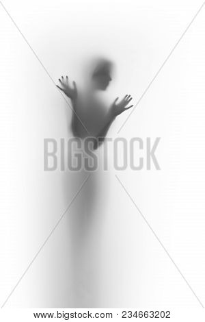 Beautiful Slender Woman Body Silhouette, Hands And Face Shape Can Be Seen Through A Translucent Curt