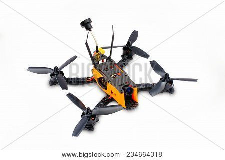 Isolated Drones Racing Fpv Quadrocopter Made Of Carbon Black, Drone Ready For Flight, Stylish And Mo