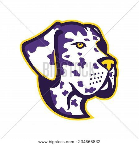 Mascot Icon Illustration Of Head Of A Great Dane, Deutsche Dogge, German Mastiff Or Dogue Allemand,