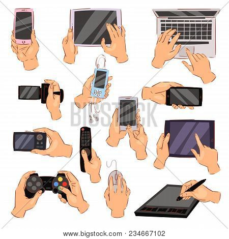 Hands With Gadgets Vector Hand Holding Phone Or Camera Illustration Set Of Character Working On Digi