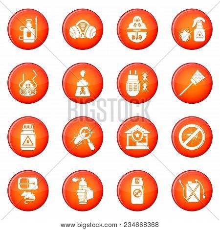 Pest Control Tools Icons Set Vector Red Circle Isolated On White Background