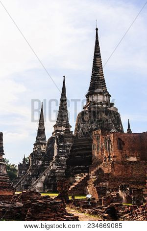 View Of Asian Thai Religious Architecture Ancient Pagodas In Wat Phra Sri Sanphet Historical Park, A