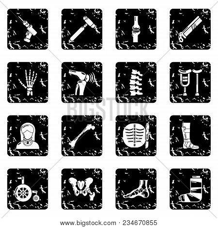 Orthopedist Bone Tools Icons Set Vector Grunge Isolated On White Background