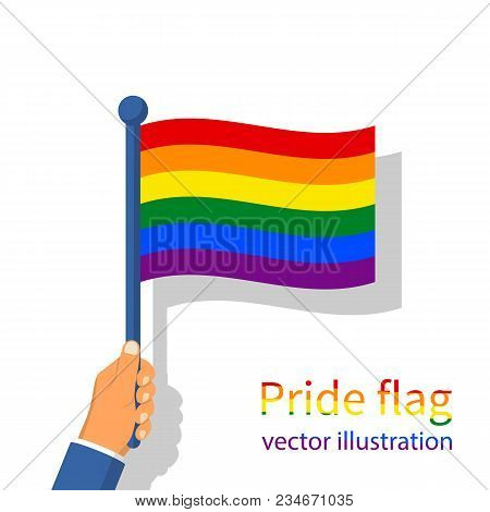 Lgbt Pride Flag. Multicolored Peace Flag Movement. Rainbow Flag Holding In Hand Gay Blowing In The W