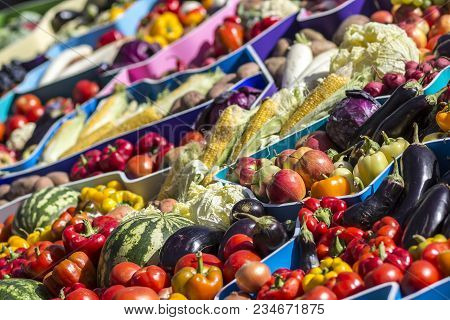 Farmers Fruit Market With Various Colorful Fresh Fruits And Vegetables