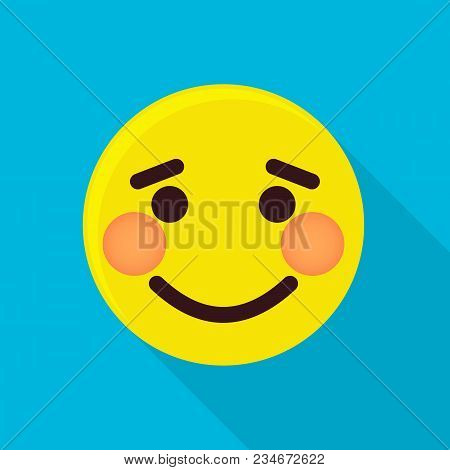 Shy Emoticon Icon. Flat Illustration Of Shy Emoticon Vector Icon For Web