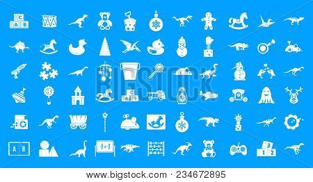 Toys Icon Set. Simple Set Of Toys Vector Icons For Web Design Isolated On Blue Background
