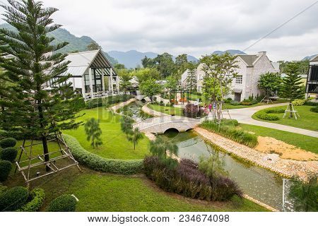 Nakornrachasima / Thailand - October 19, 2014 : Beautiful View With English Country Style Building I