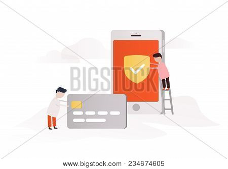 Mobile Banking Concept Illustration Of People Using Smart Phone For Online Banking.