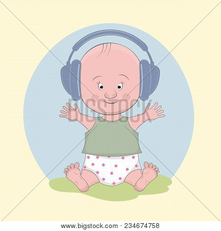 Cute Baby Boy In A Headphones Listening To Music On A Light Background. Sweet Kids Graphics For T-sh