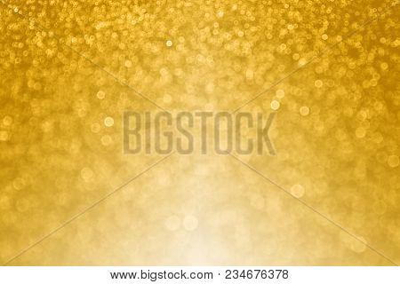 Abstract Gold Glitter Sparkle Confetti Background For Golden Happy Birthday Party Invite, 50th Weddi