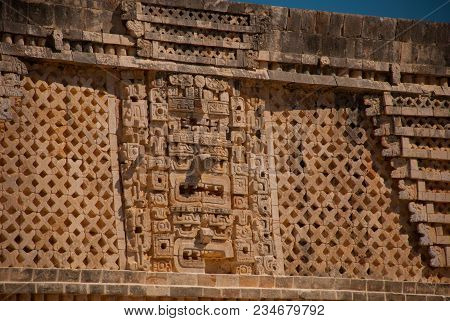 One Of The Most Important Archaeological Sites Of Maya Culture. Ancient Mayan Drawings On Stone. Fra