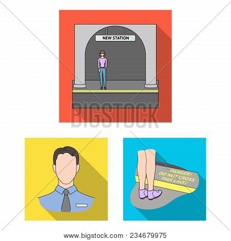 Metro, Subway Flat Icons In Set Collection For Design.urban Transport Vector Symbol Stock  Illustrat
