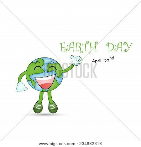 Happy Earth Day April 22 With Globe Cute Character.earth Day Campaign Idea Concept.earth Day Idea Ca