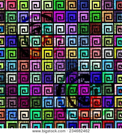 Abstract Colored Background Image Consisting Of Lines And Figures