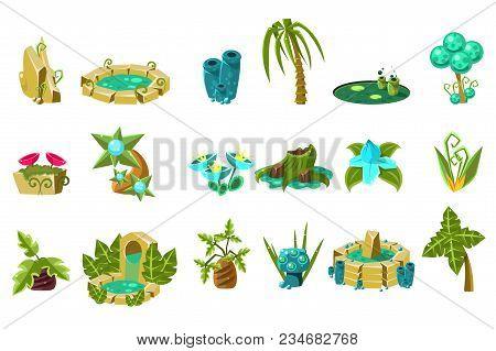 Fabulous Flowers, Trees, Flowers, Stones, Design Elements Of Fantasy Landscape, World Of Trolls, Gno