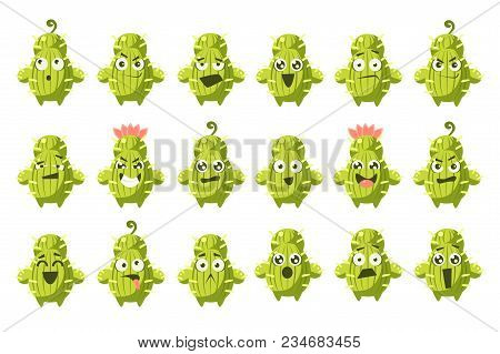 Cactus Characters Big Set, Funny Cacti With Different Emotions Vector Illustration On A White Backgr