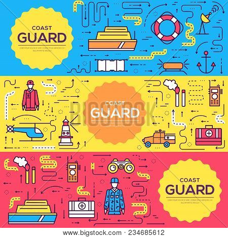 Coast Guard Vector Brochure Cards Thin Line Set. Guarding The Order Template Of Flyear, Magazines, P