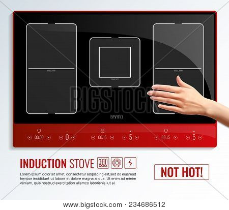 Realistic Induction Hob Surface Hand Poster With Induction Stove Not Hot Headline Vector Illustratio