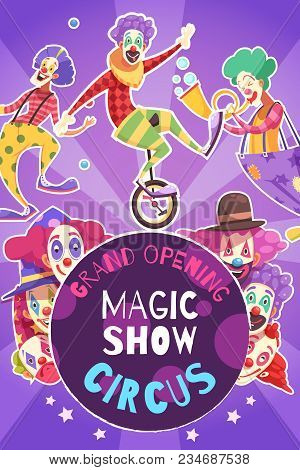 Circus Grand Opening Magic How Performance Announcement Poster With Funny Clowns On Bright Purple Ba