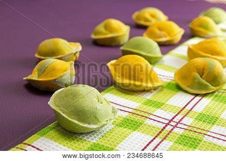 Homemade Raw Dumpling, Traditional East European Food Before Boiling. Trend Ultraviolet Color Backgr
