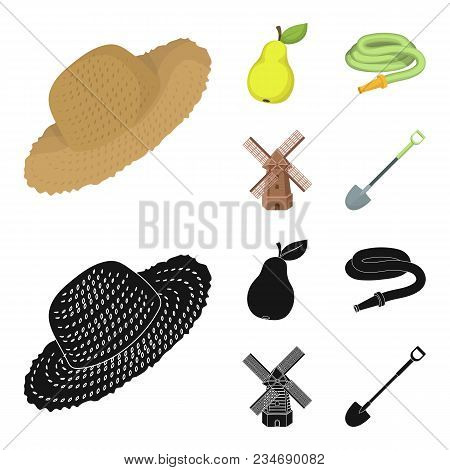 Straw Hat, Pear With Leaf, Watering Hose, Windmill. Farmer And Gardening Set Collection Icons In Car