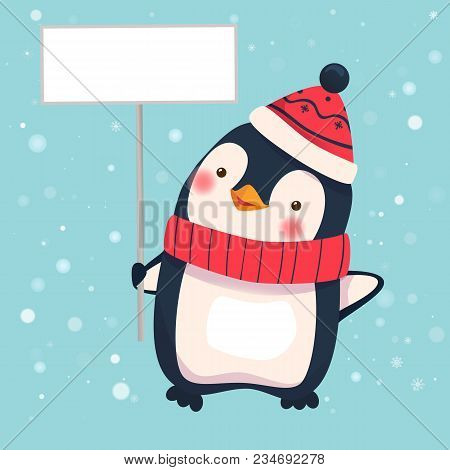 Penguin Holding Blank Sign. Penguin Cartoon Illustration.