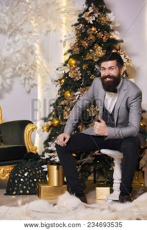 Smiling Bearded Man In Gray Classic Suit Having Luxury Style. Waiting For The New Year Holiday. Bear