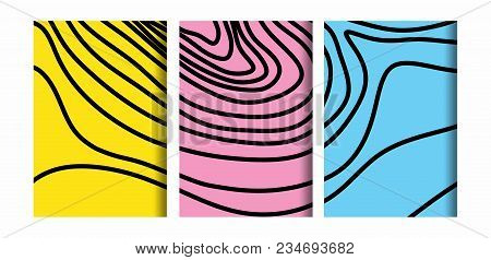 Abstract Black And White Topographic Contours Lines Of Mountains. Topography Map Art Curve Drawing D