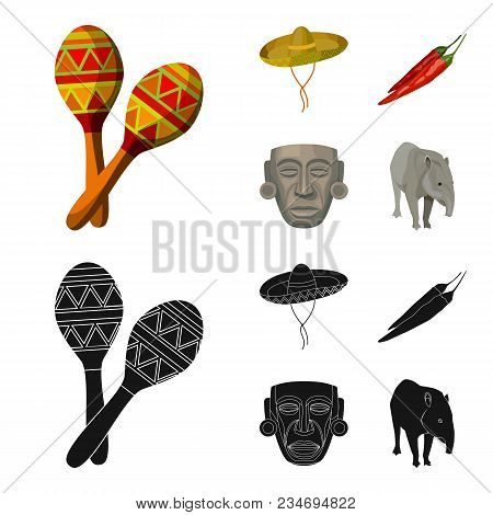 Maracas National Musical Instrument, Sambrero Traditional Mexican Headdress, Red Pepper, Bitter, Ido