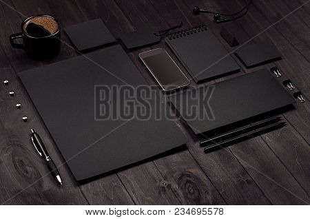 Corporate Identity Set Of Blank Black Stationery With Phone, Coffee Cup On Luxury Dark Wood Board, I