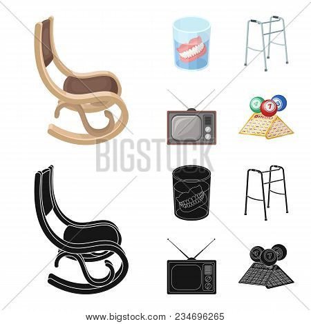 Denture, Rocking Chair, Walker, Old Tv.old Age Set Collection Icons In Cartoon, Black Style Vector S