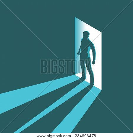 Isometric Concept Silhouette Of Man Entering Dark Room With Bright Light In Doorway. Vector Illustra