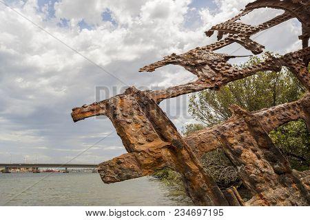 Partial View: Steel Hulled Ship Wreck, Garden Island, Port Adelaide, Sa