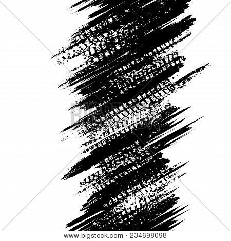 Abstract White Background With Grunge Black Lines And Tire Tracks