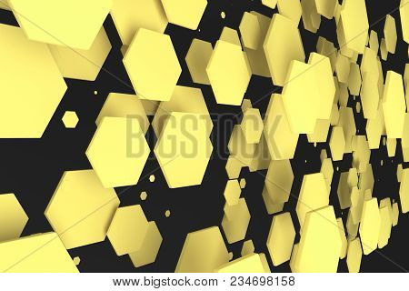 Yellow Hexagons Of Random Size On Black Background. Abstract Background With Hexagons. Cloud Of Hexa