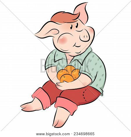 Little Pig Eating Oranges The Symbol Of New Year