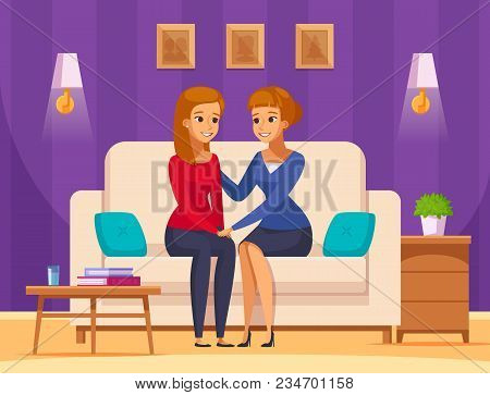 Children Parents Parenthood Cartoon Composition With Domestic Interior And Flat Characters Of Mother